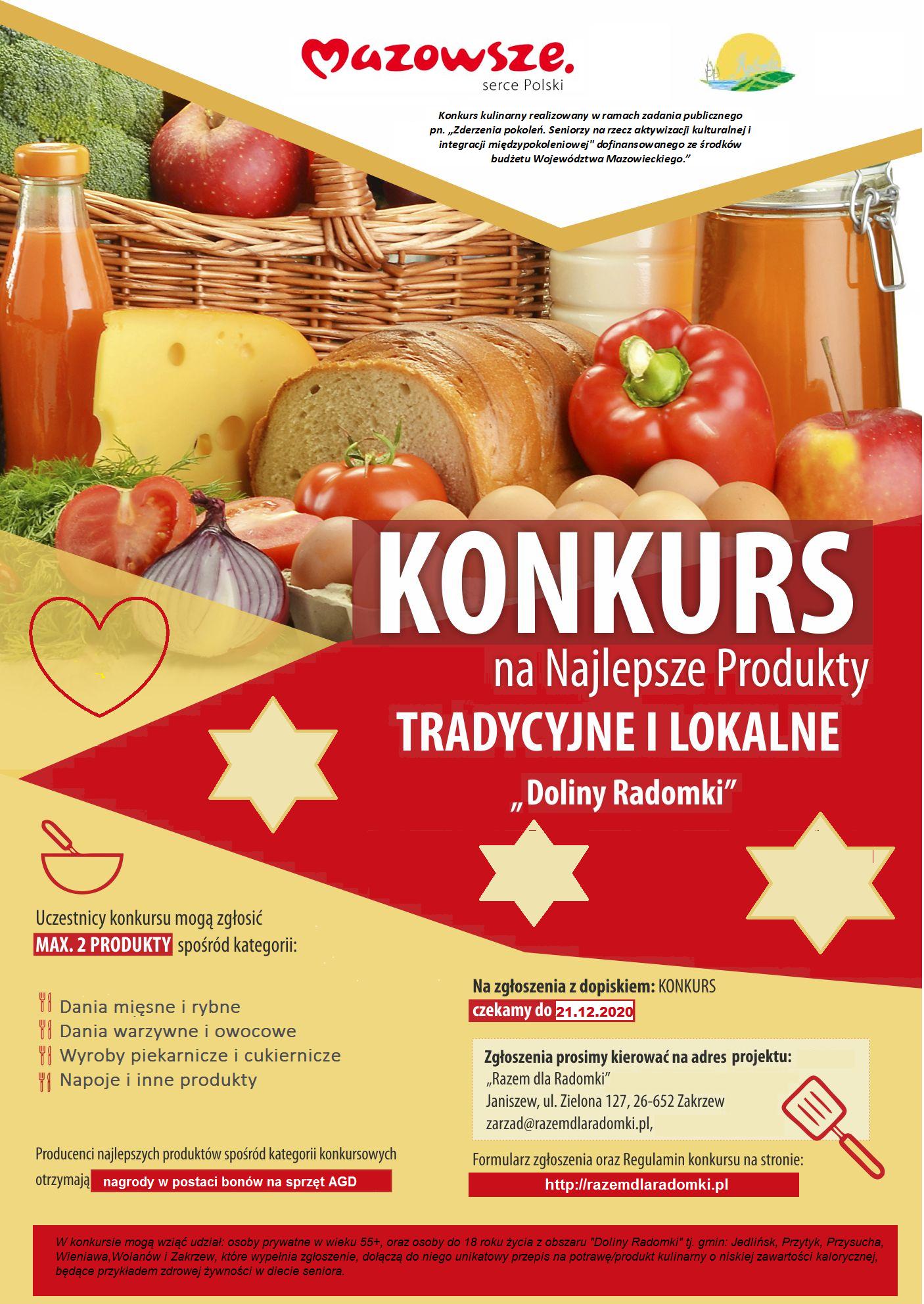 Konkurs na Najlepsze Produkty Tradycyjne i Lokalne w Dolinie Radomki 2020